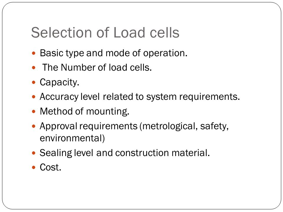 Selection of Load cells
