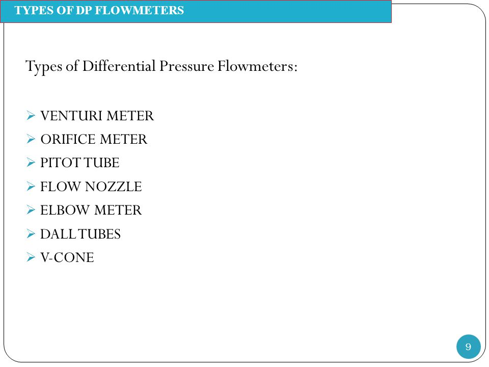 Types of Differential Pressure Flowmeters: