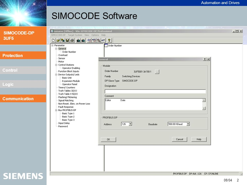 SIMOCODE Software Protection Communication Explanation: