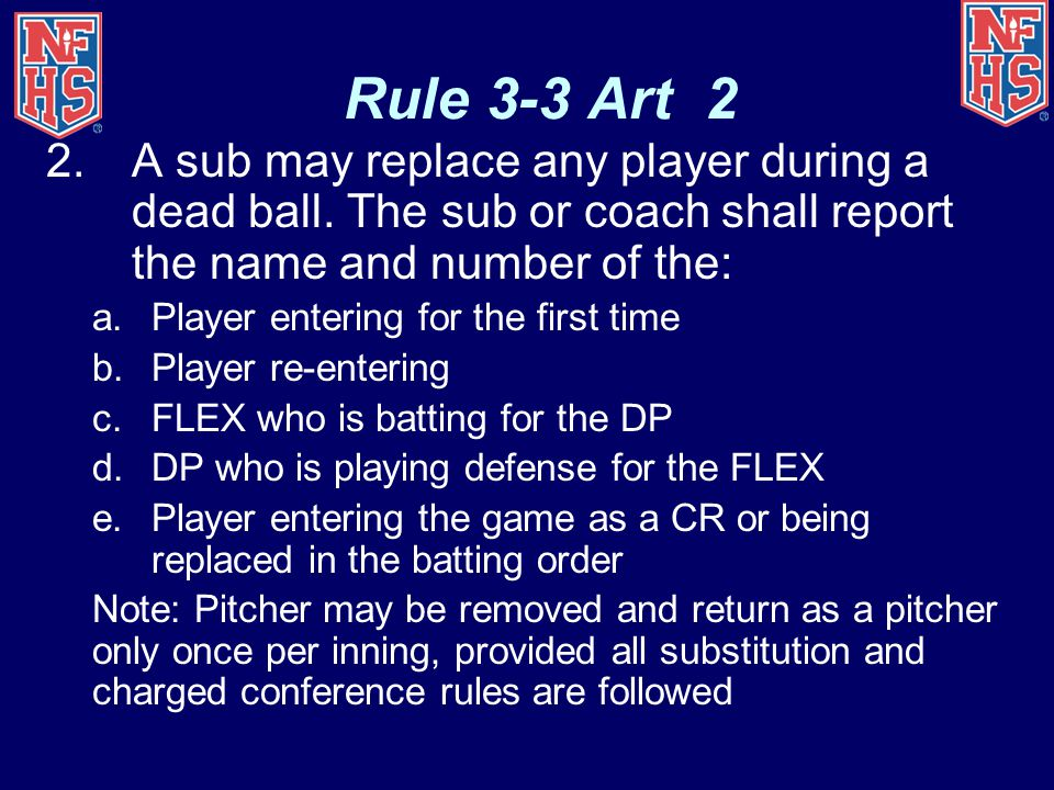 Rule 3-3 Art 2 A sub may replace any player during a dead ball. The sub or coach shall report the name and number of the: