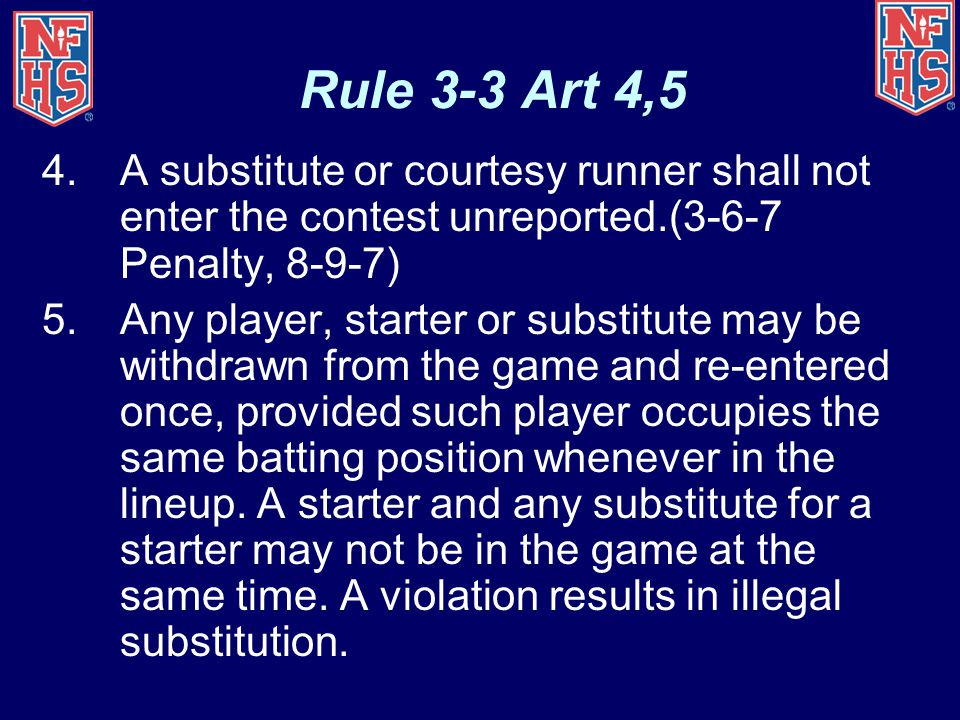 Rule 3-3 Art 4,5 A substitute or courtesy runner shall not enter the contest unreported.(3-6-7 Penalty, 8-9-7)