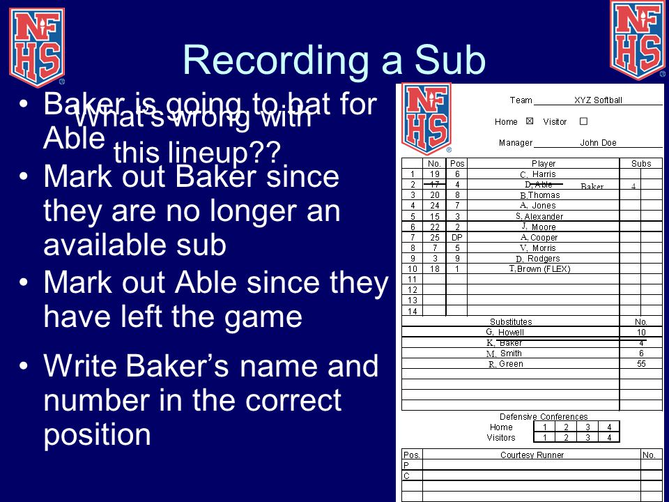 Recording a Sub Baker is going to bat for Able