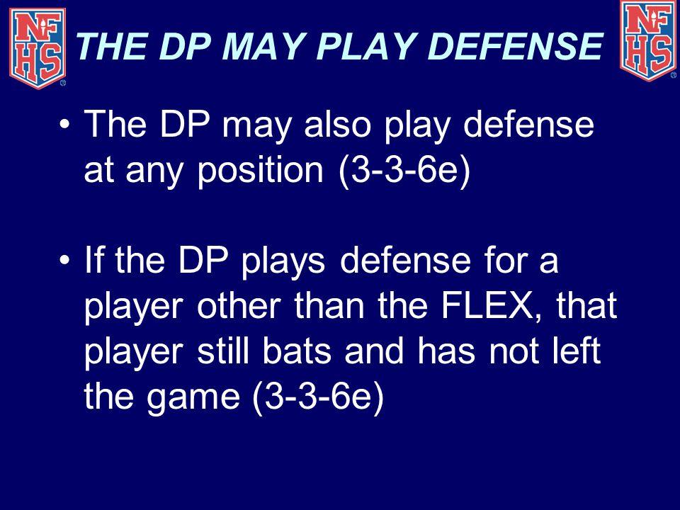 THE DP MAY PLAY DEFENSE The DP may also play defense at any position (3-3-6e)