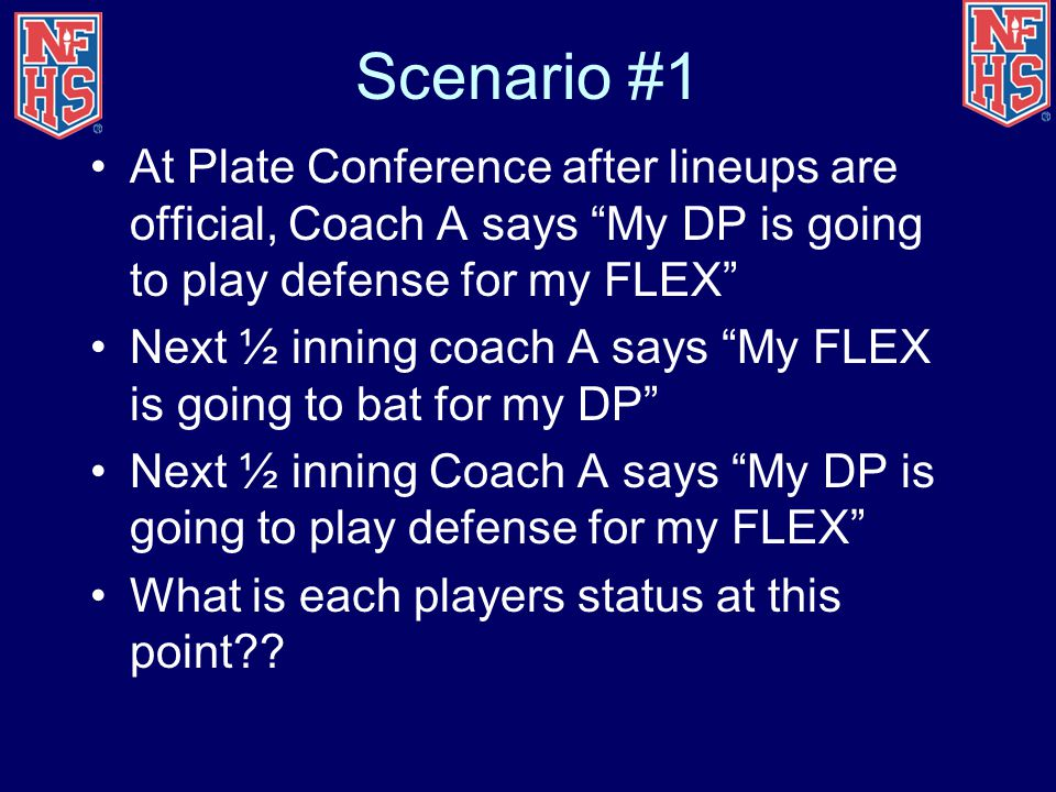 Scenario #1 At Plate Conference after lineups are official, Coach A says My DP is going to play defense for my FLEX
