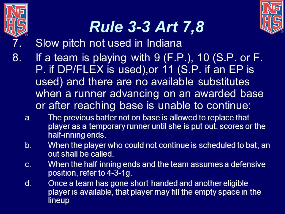 Rule 3-3 Art 7,8 Slow pitch not used in Indiana