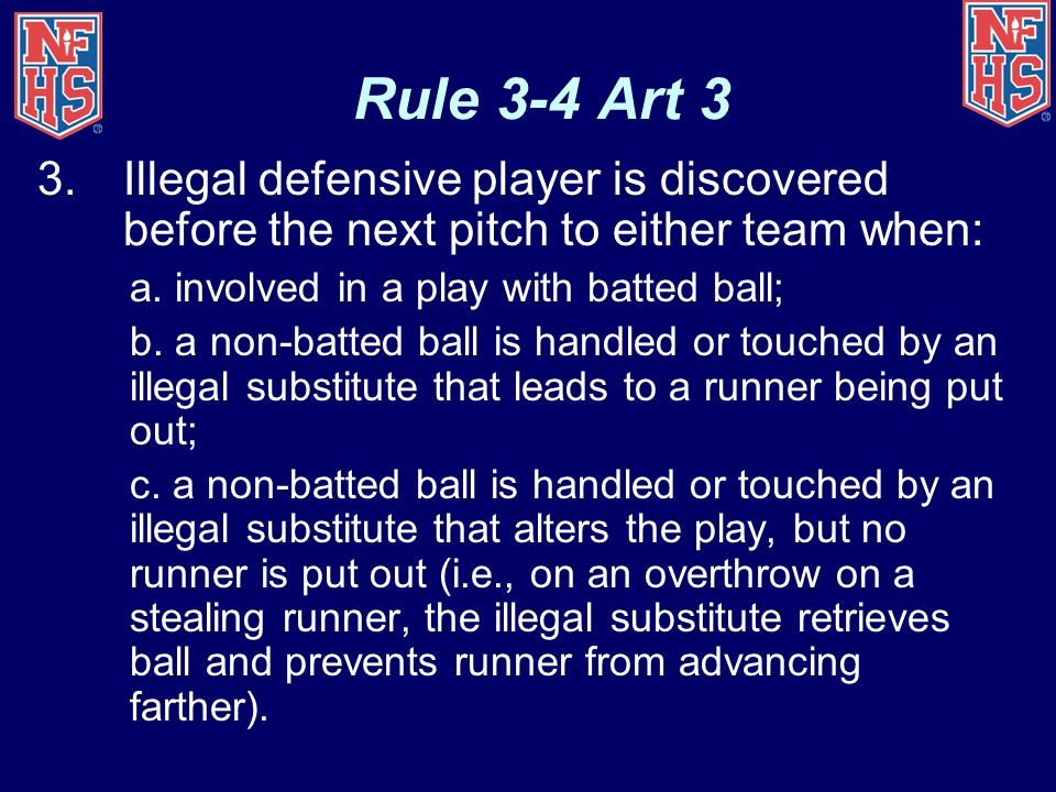 Rule 3-4 Art 3 Illegal defensive player is discovered before the next pitch to either team when: a. involved in a play with batted ball;