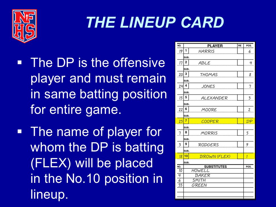 THE LINEUP CARD The DP is the offensive player and must remain in same batting position for entire game.