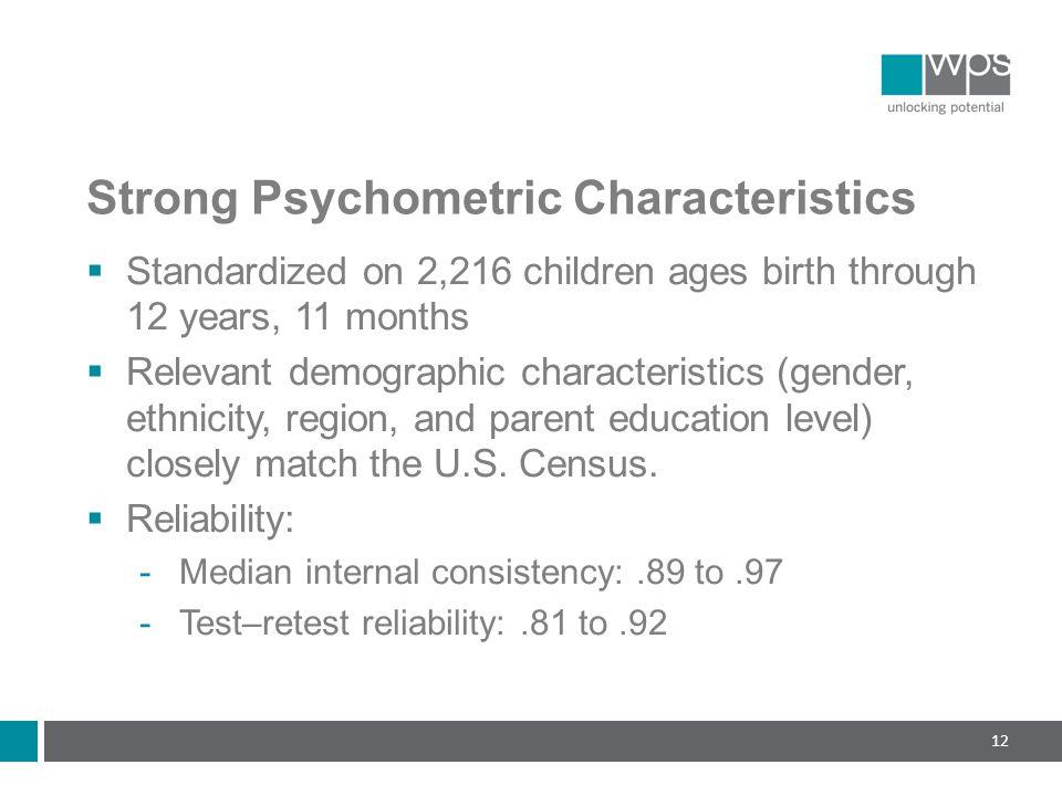 Strong Psychometric Characteristics
