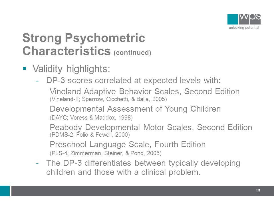 Strong Psychometric Characteristics (continued)