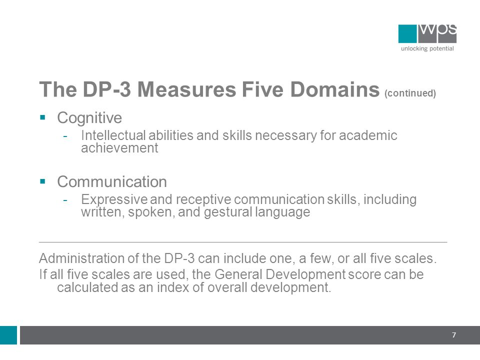The DP-3 Measures Five Domains (continued)