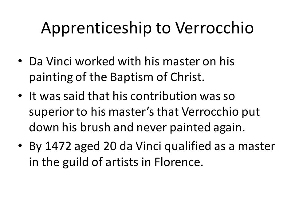 Apprenticeship to Verrocchio