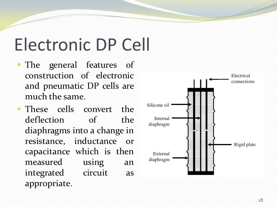 Electronic DP Cell The general features of construction of electronic and pneumatic DP cells are much the same.
