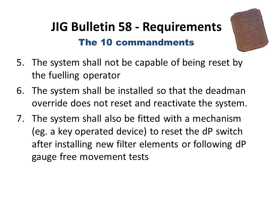 JIG Bulletin 58 - Requirements