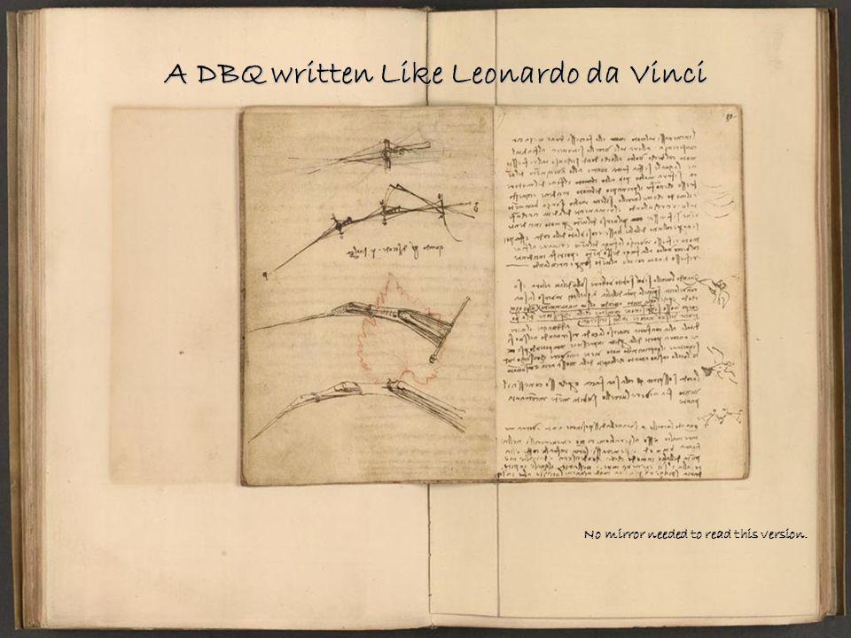 A DBQ written Like Leonardo da Vinci