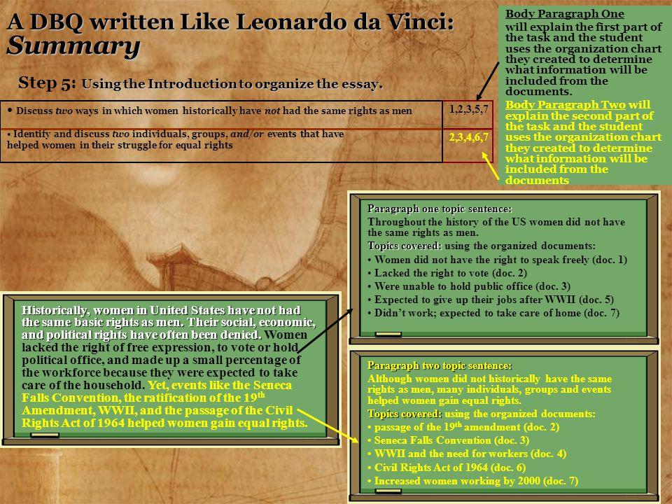A DBQ written Like Leonardo da Vinci: Summary