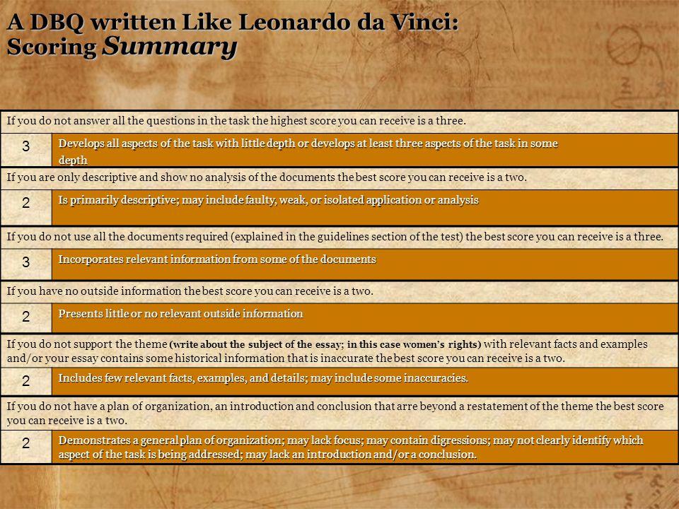 A DBQ written Like Leonardo da Vinci: Scoring Summary