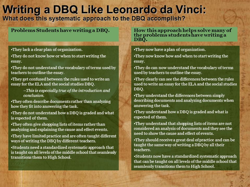 Writing a DBQ Like Leonardo da Vinci: What does this systematic approach to the DBQ accomplish