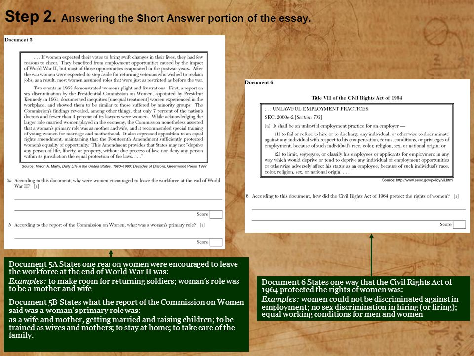 Step 2. Answering the Short Answer portion of the essay.