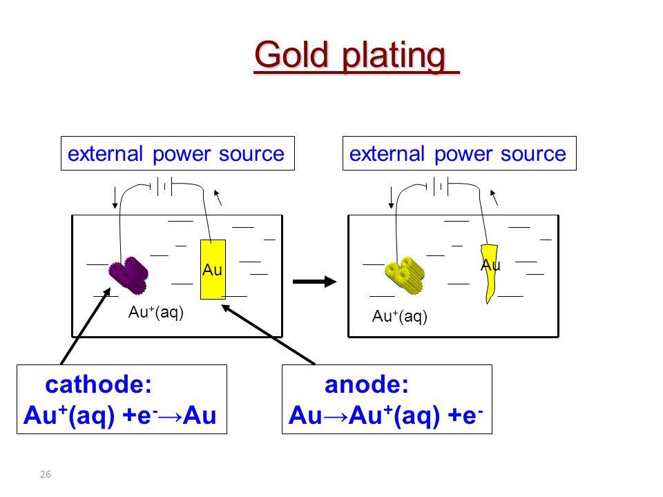 Gold plating cathode: Au+(aq) +e-→Au anode: Au→Au+(aq) +e-