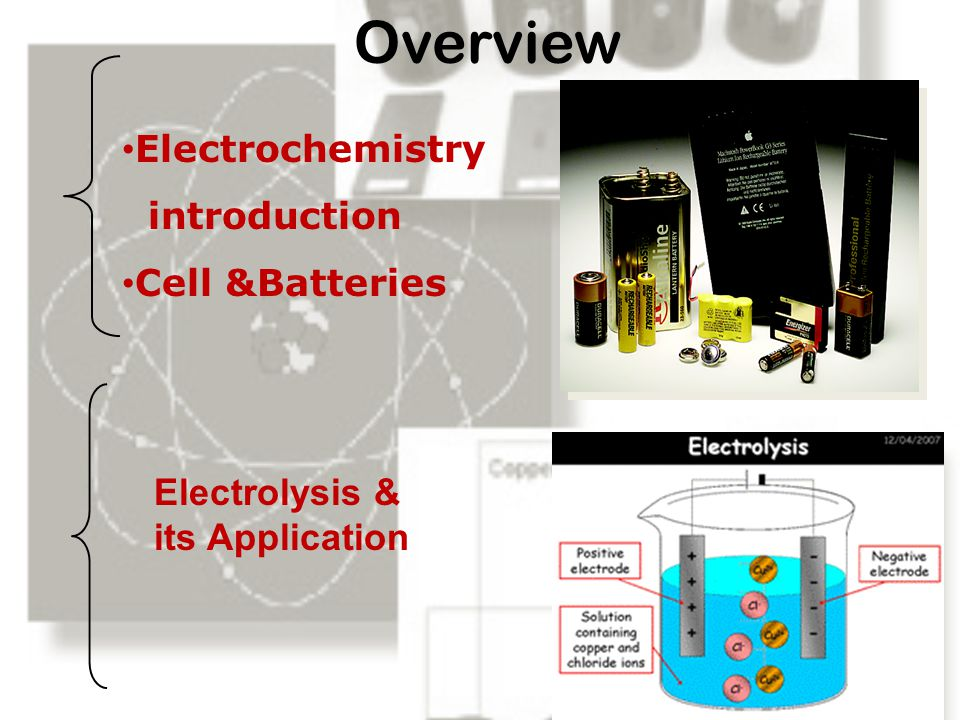 Overview Electrochemistry introduction Cell &Batteries
