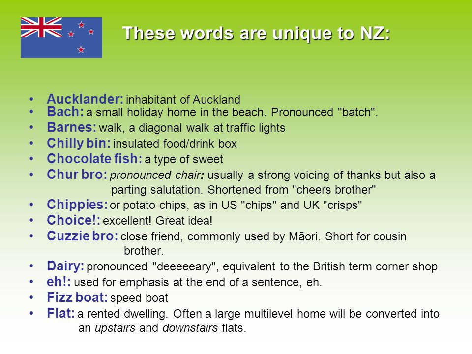 These words are unique to NZ: