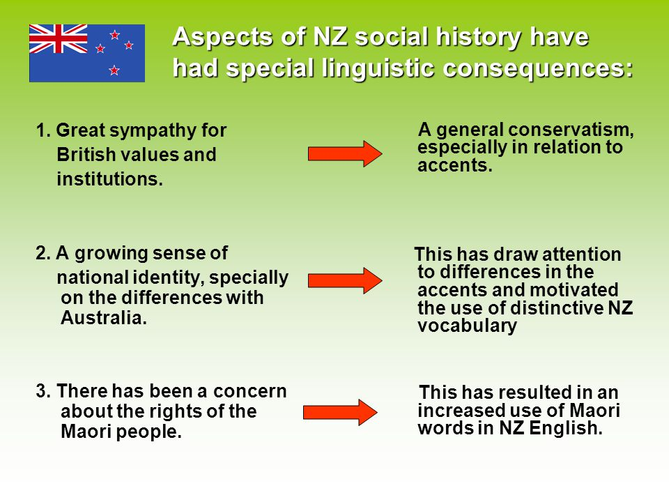 Aspects of NZ social history have had special linguistic consequences: