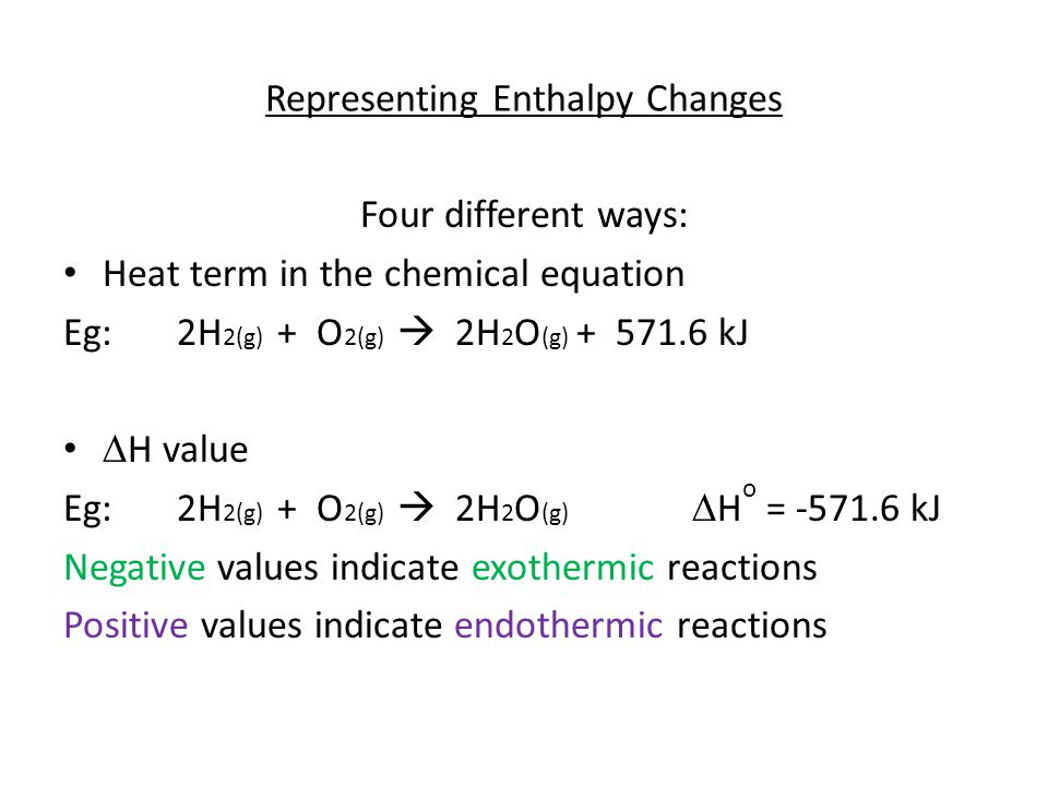 Representing Enthalpy Changes