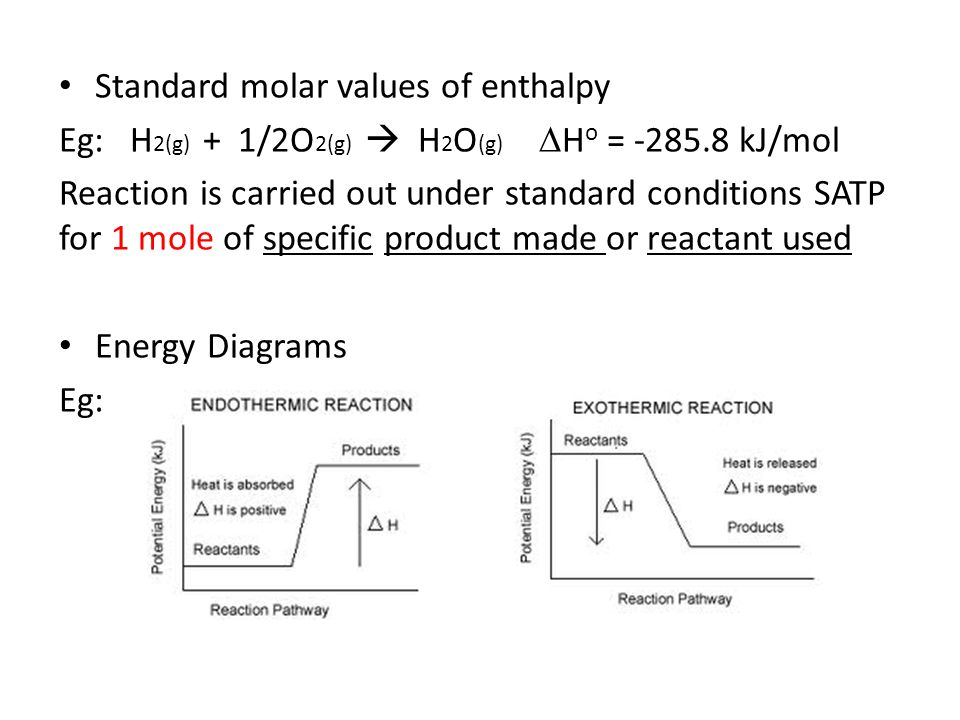 Standard molar values of enthalpy