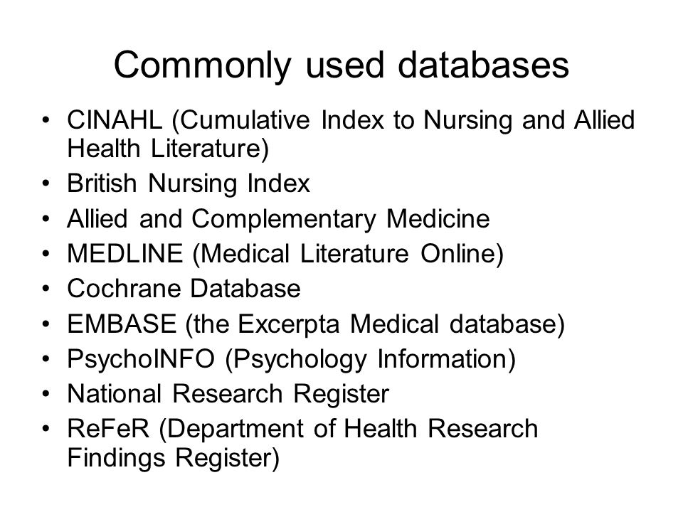 Commonly used databases