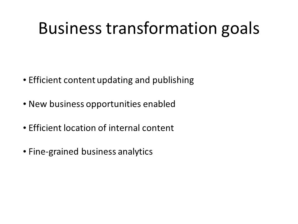 Business transformation goals