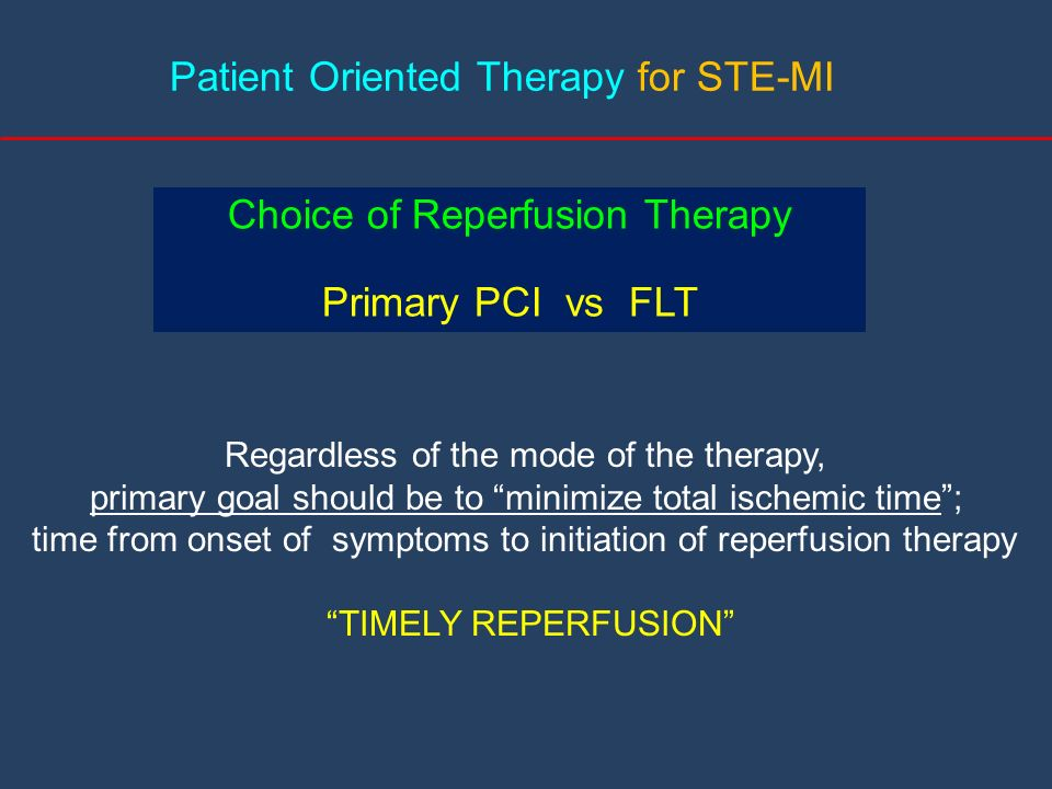 Patient Oriented Therapy for STE-MI
