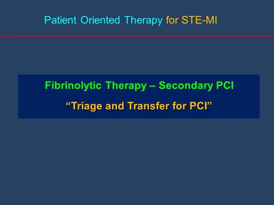 Fibrinolytic Therapy – Secondary PCI Triage and Transfer for PCI