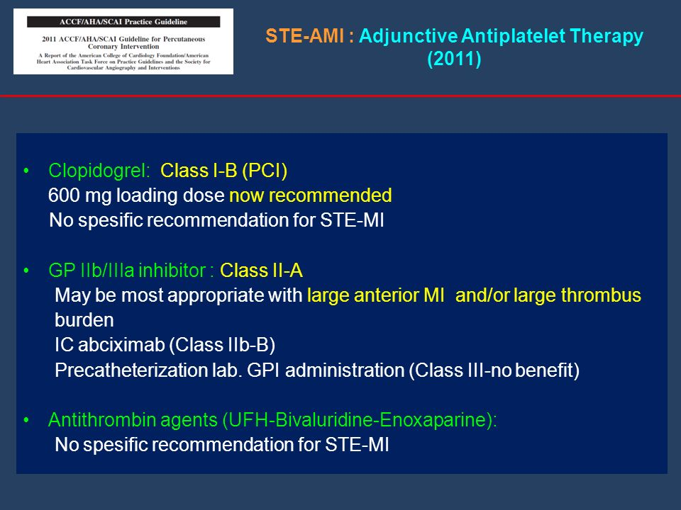 STE-AMI : Adjunctive Antiplatelet Therapy