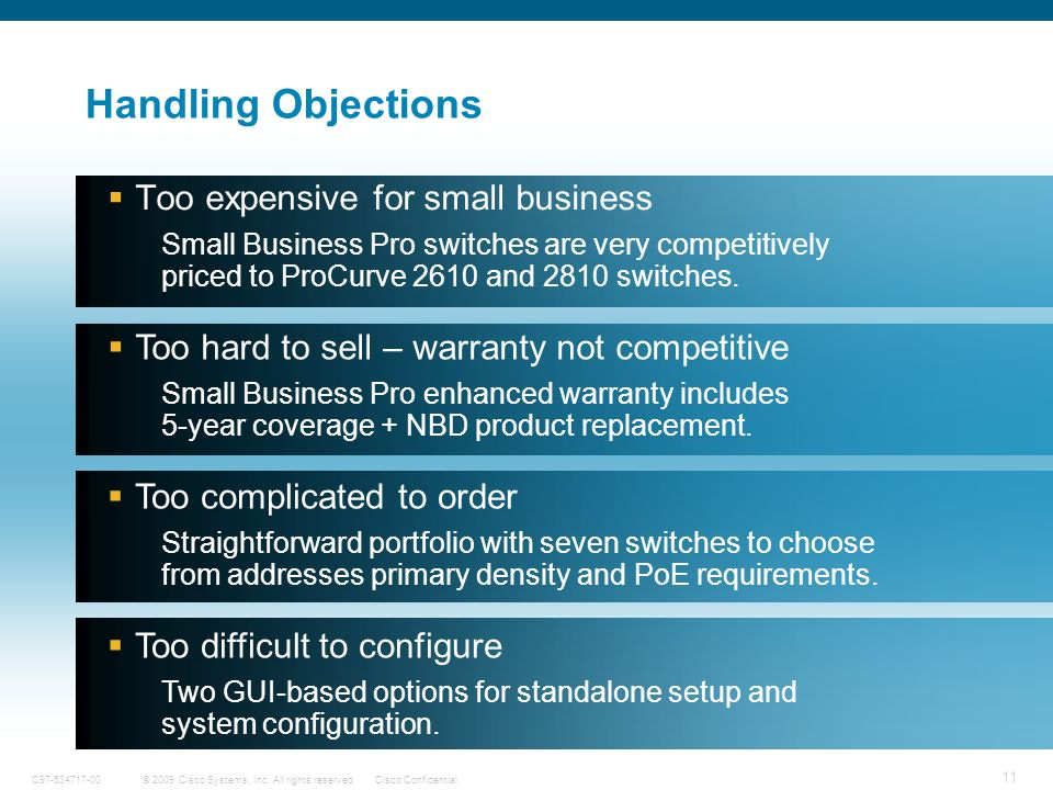 Handling Objections Too expensive for small business