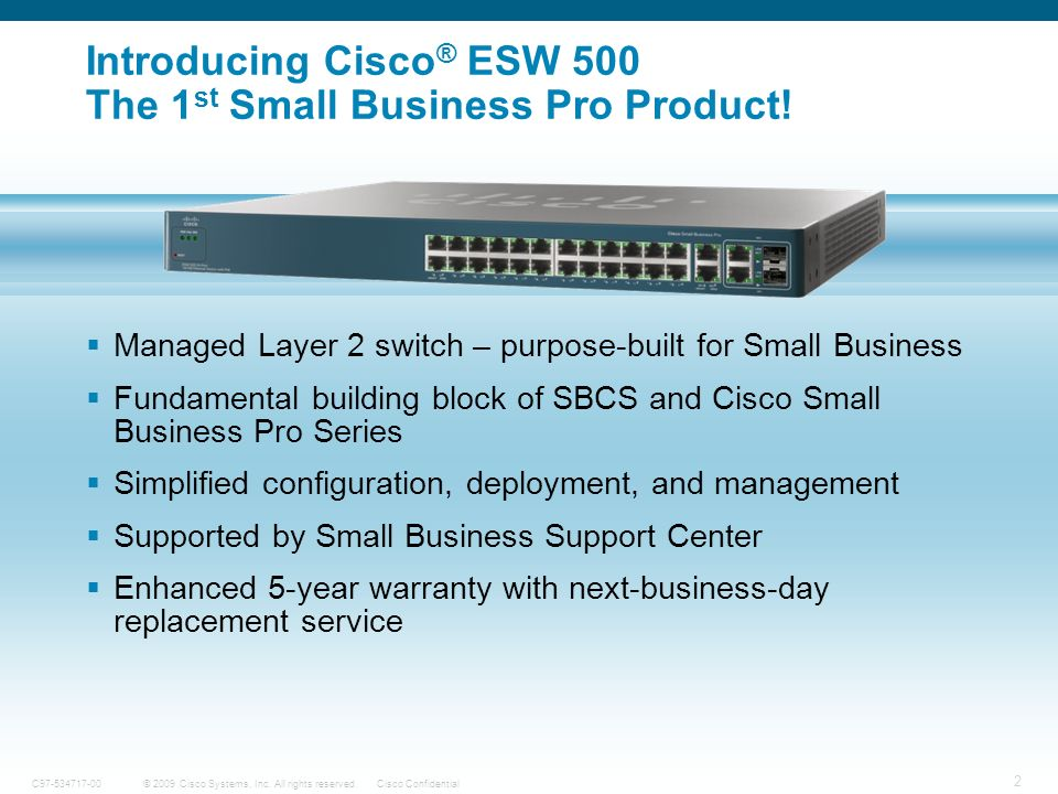 Introducing Cisco® ESW 500 The 1st Small Business Pro Product!