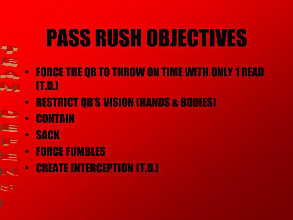 PASS RUSH OBJECTIVES TEAM DEFENSE