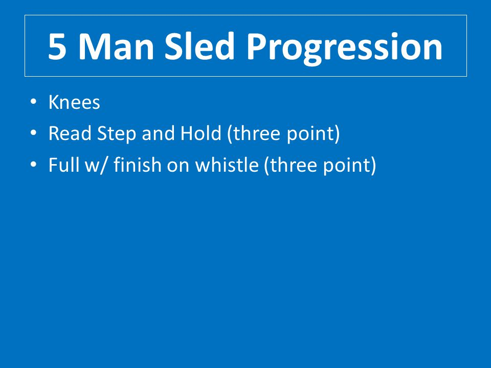 5 Man Sled Progression Knees Read Step and Hold (three point)