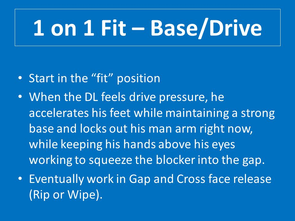 1 on 1 Fit – Base/Drive Start in the fit position