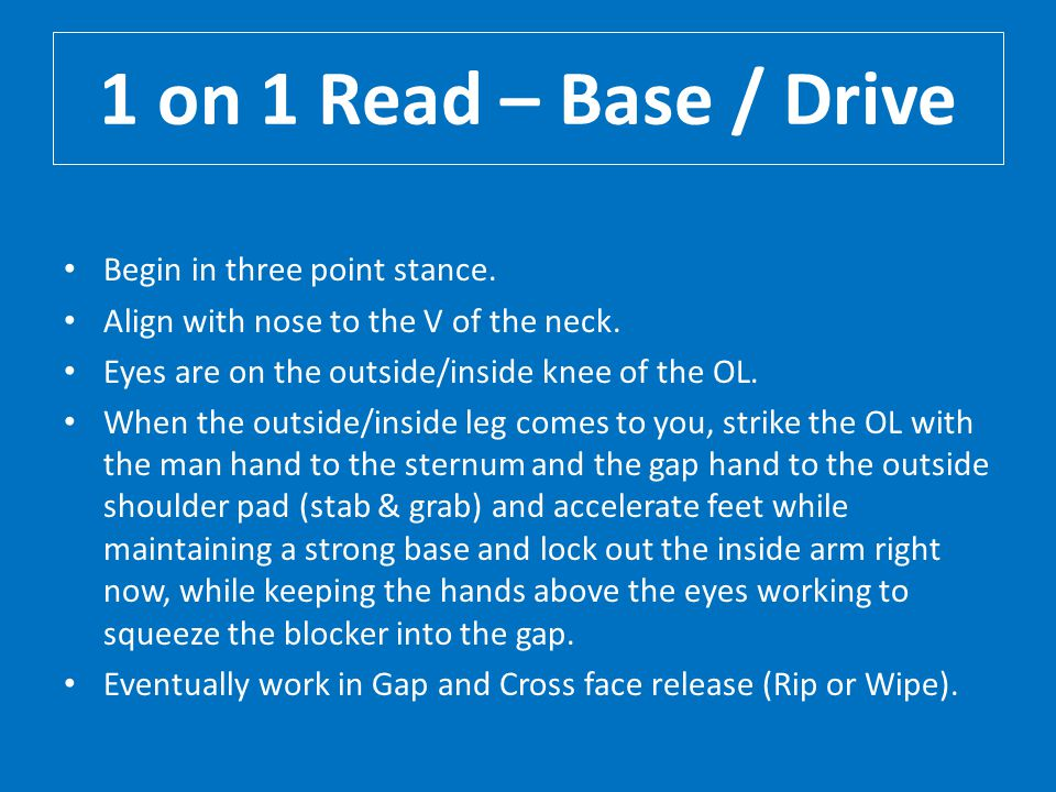 1 on 1 Read – Base / Drive Begin in three point stance.