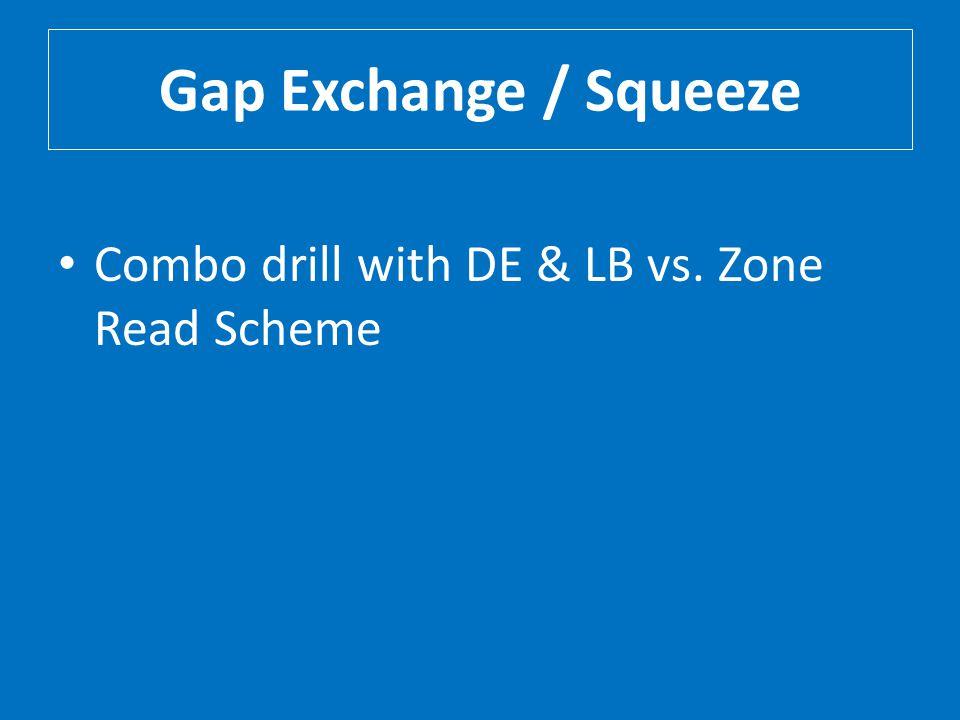 Gap Exchange / Squeeze Combo drill with DE & LB vs. Zone Read Scheme