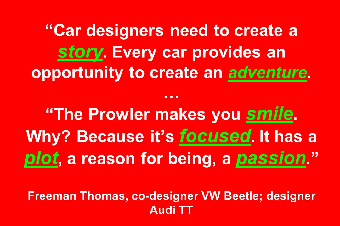 Car designers need to create a story