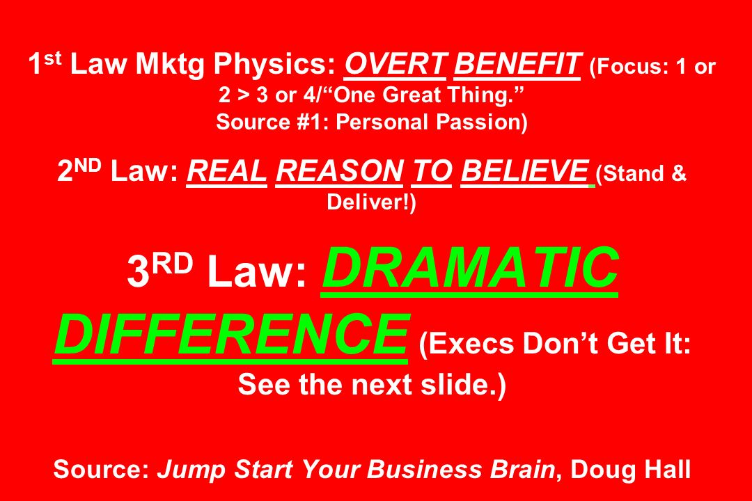 1st Law Mktg Physics: OVERT BENEFIT (Focus: 1 or 2 > 3 or 4/ One Great Thing. Source #1: Personal Passion) 2ND Law: REAL REASON TO BELIEVE (Stand & Deliver!) 3RD Law: DRAMATIC DIFFERENCE (Execs Don't Get It: See the next slide.) Source: Jump Start Your Business Brain, Doug Hall