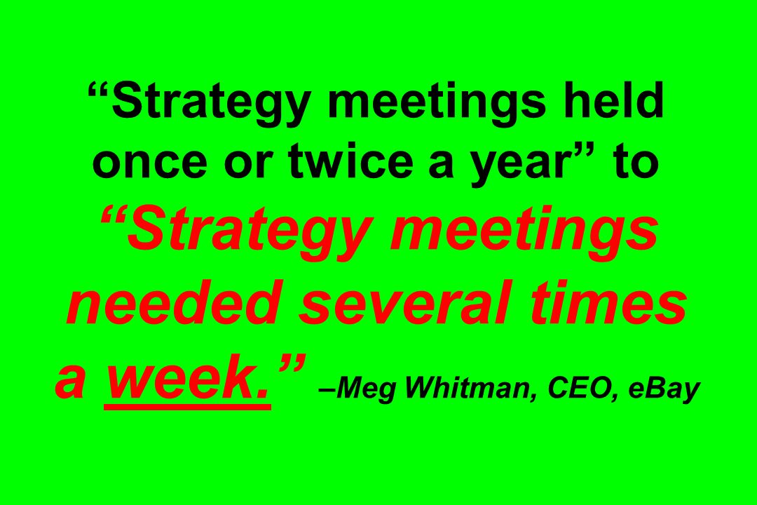 Strategy meetings held once or twice a year to Strategy meetings needed several times a week. –Meg Whitman, CEO, eBay