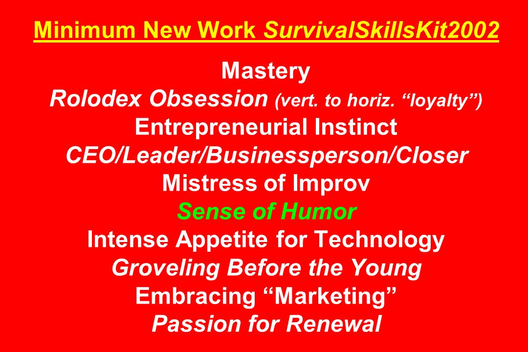 Minimum New Work SurvivalSkillsKit2002 Mastery Rolodex Obsession (vert