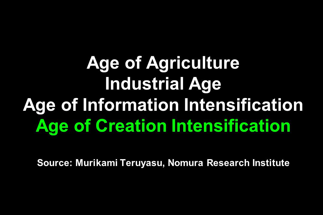 Age of Agriculture Industrial Age Age of Information Intensification Age of Creation Intensification Source: Murikami Teruyasu, Nomura Research Institute