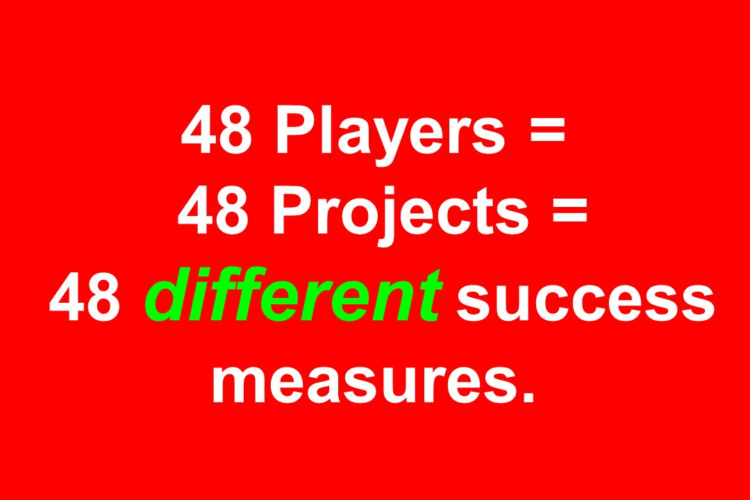 48 Players = 48 Projects = 48 different success measures.