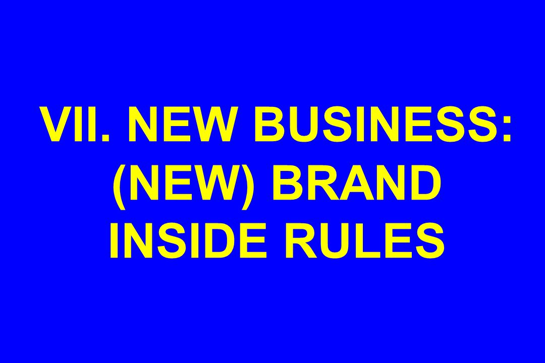 VII. NEW BUSINESS: (NEW) BRAND INSIDE RULES