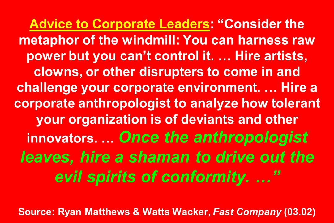 Advice to Corporate Leaders: Consider the metaphor of the windmill: You can harness raw power but you can't control it.