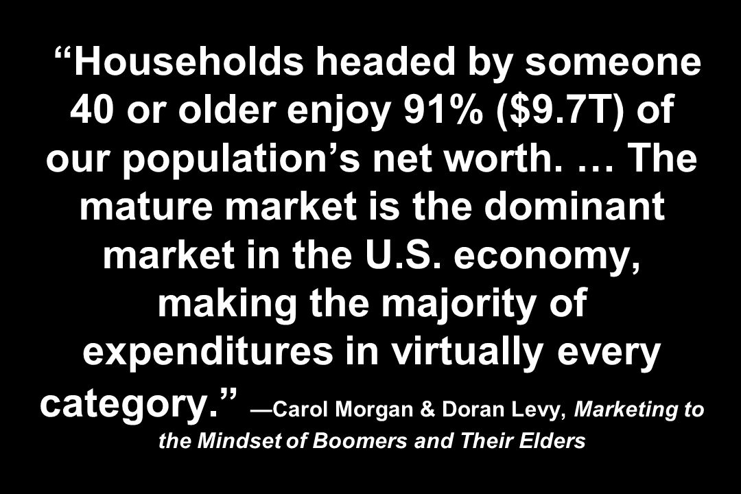 Households headed by someone 40 or older enjoy 91% ($9