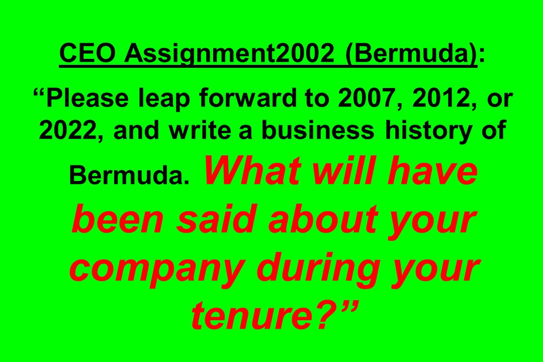 CEO Assignment2002 (Bermuda): Please leap forward to 2007, 2012, or 2022, and write a business history of Bermuda.